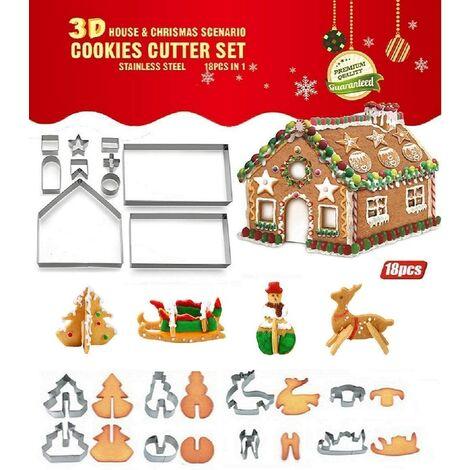 18 unids / lote DIY cortador de galletas de acero inoxidable serie de Navidad 3d pan de jengibre molde de galletas para el hogar herramientas de decoración de pasteles con fondant