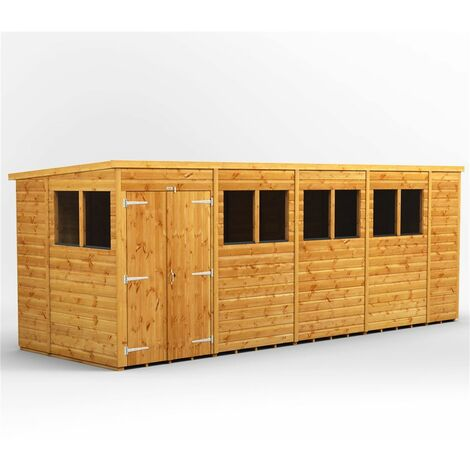 """main image of """"18 x 6 Premium Tongue and Groove Pent Shed - Double Doors - 8 Windows - 12mm Tongue and Groove Floor and Roof"""""""