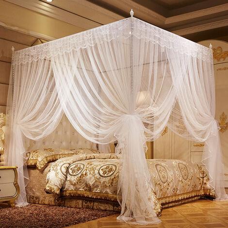 180 * 200cm Moustiquaire dentelle Literie Chambre à coucher Décor (Blanc)