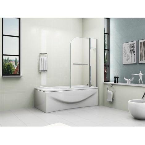 180° Pivot 6mm Glass Double Panel Shower Bath Screen with Shelf