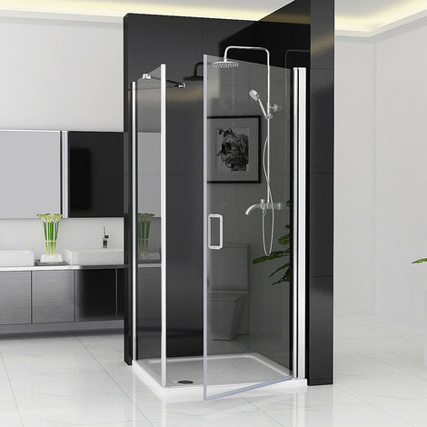 180° Pivot Door Shower Enclosure Frameless with Side Panel 6mm Clear Safety Nano Glass 1850 Height - No Tray