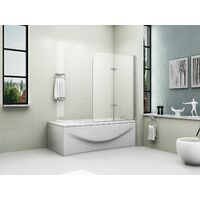 180° Pivot Glass 2 Fold Shower Bath Screen