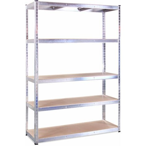 180 x 120 x 45cm Galvanised 5 Tier Boltless Shelving Unit (175kg Load Weight Per Tier)