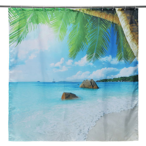 180 X 180cm Waterproof Shower Curtain For Bathroom Beach Palm Trees Hasaki