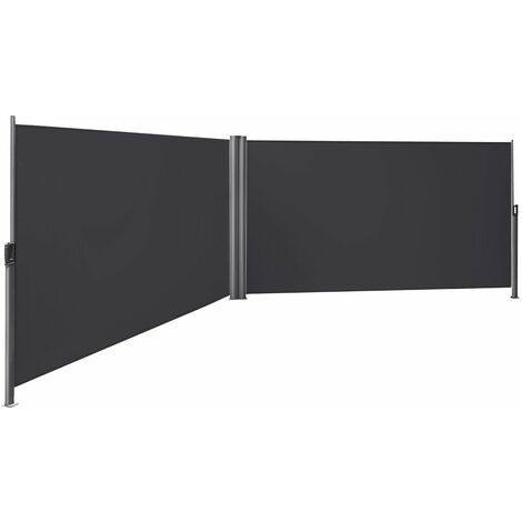 180 x 600cm Retractable Bilateral Awning, Privacy Protection, Sun Shade, Side Blind, TÜV SÜD GS Certificated, with Thickened Polythene Fabric 280g/㎡, Smoky Grey, GSA360G