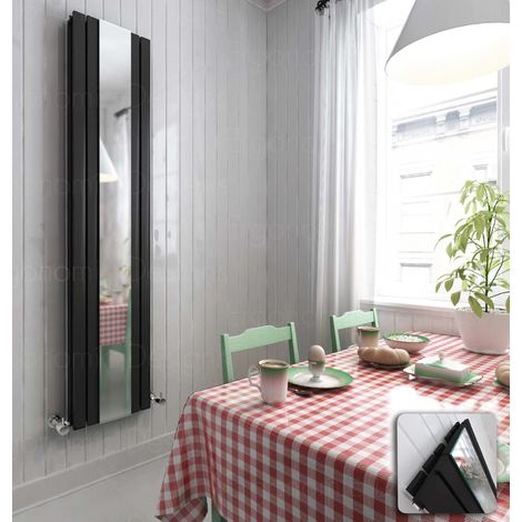 1800 X 381 Anthracite Vertical Double Panel Radiator With Mirror