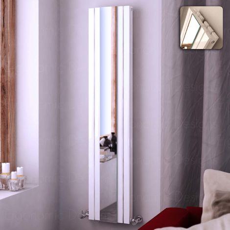 1800 X 381 White Vertical Double Panel Column With Mirror Radiator Rad