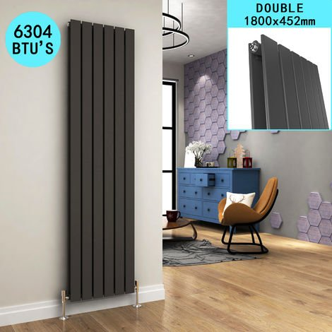 1800 x 452mm Anthracite Vertical Radiator Designer Double Oval Column Radiators Bathroom Flat Panel