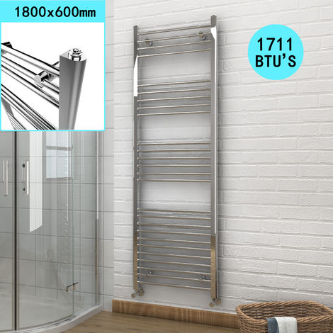 1800 x 600 mm Bathroom Towel Radiator Chrome Straight Towel Rail Radiator
