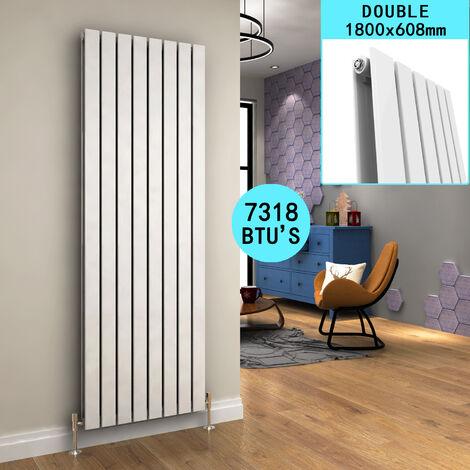 1800 x 608 mm Vertical Column Designer Radiator White Double Flat Panel Central Heating Radiators