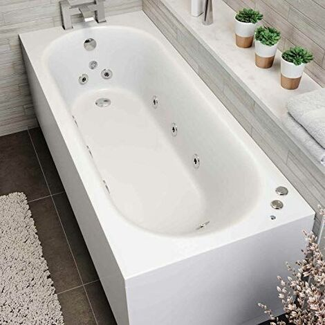 1800 x 750mm Whirlpool Bath Single Ended Curved 10 Jets LED Lights Jacuzzi Style