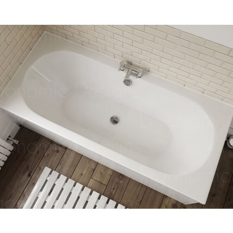 1800 X 800 Straight Standard Acrylic Round Double Ended Bath In White