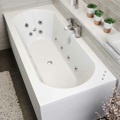 1800 x 800mm Whirlpool Bath Double Ended Curved 22 Jets LED Lighting Ozonator