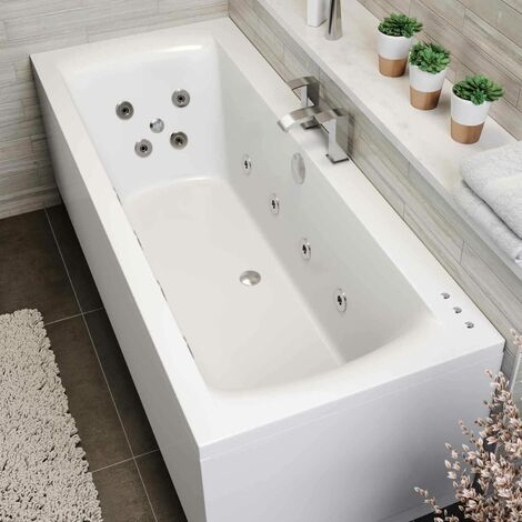 1800 x 800mm Whirlpool Bath Double Ended Square 22 Jets LED Lighting Ozonator