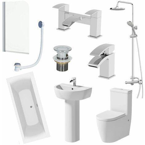 1800mm Bathroom Suite Double Ended Bath Shower Screen Toilet Basin Pedestal Taps