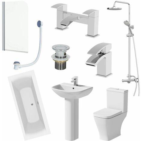 1800mm Bathroom Suite Double Ended Bath Shower Toilet Pedestal Basin Taps Screen