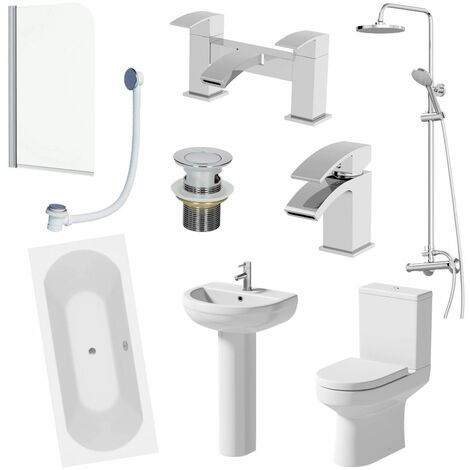 1800mm Bathroom Suite Shower Double Ended Bath Screen Toilet Basin Pedestal Taps