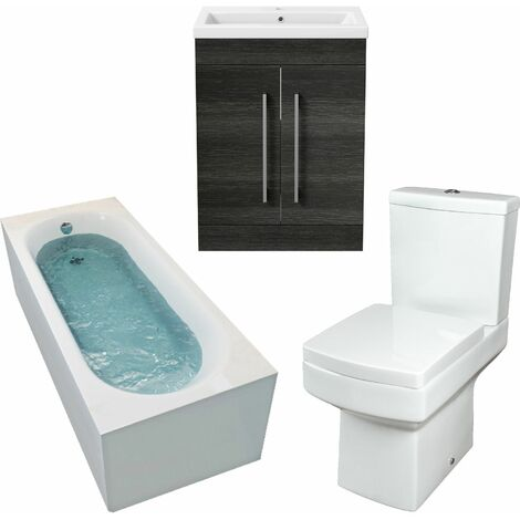 1800mm Bathroom Suite Single Ended Bath Toilet Grey Vanity Unit Basin Modern