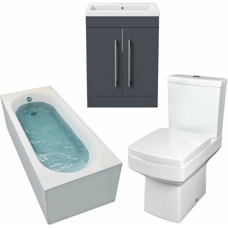 1800mm Bathroom Suite Single Ended Bath Toilet Vanity Unit Basin Modern