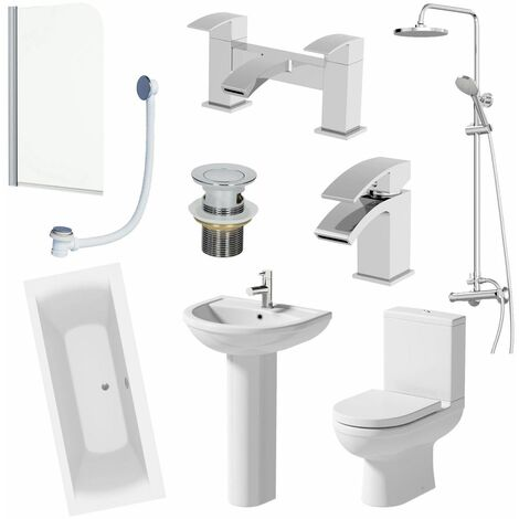 1800mm Complete Bathroom Suite Bath Shower Screen Toilet Taps Basin Pedestal