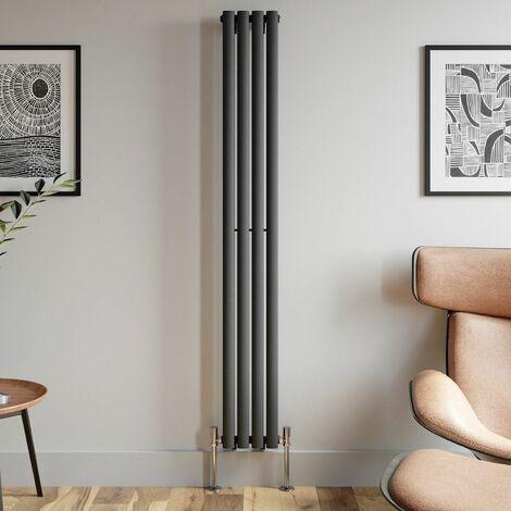 1800x240mm Anthracite Designer Radiator Vertical Oval Column Single Panel Rad