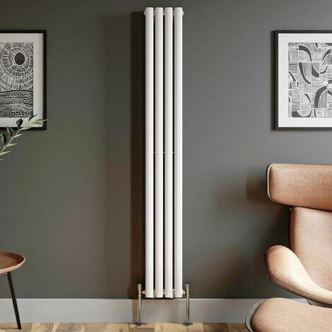 1800x240mm Designer Radiator Vertical White Oval Column Rads Double Panel