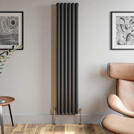 1800x360mm Anthracite Designer Radiator Vertical Oval Column Double Panel Rad