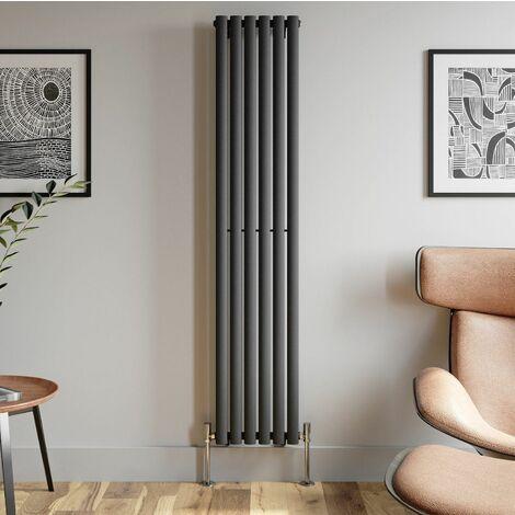 1800x360mm Anthracite Designer Radiator Vertical Oval Column Single Panel Rad