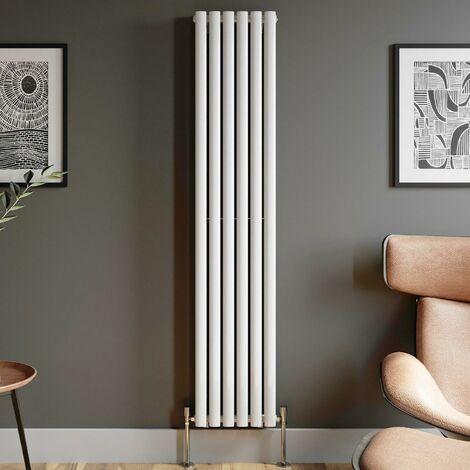 1800x360mm Designer Radiator Vertical White Oval Column Rads Double Panel