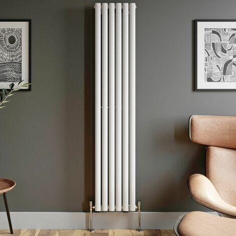 1800x360mm Designer Radiator Vertical White Oval Column Rads Single Panel