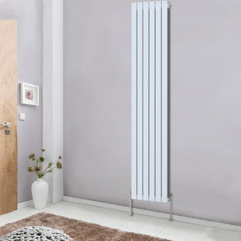 1800x408 Vertical Column Designer Radiator White Single Flat Panel