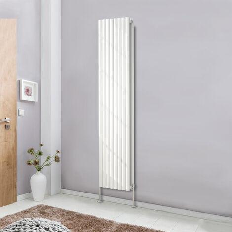 1800x472 Oval Column Designer Radiator Bathroom Central Heating Double White