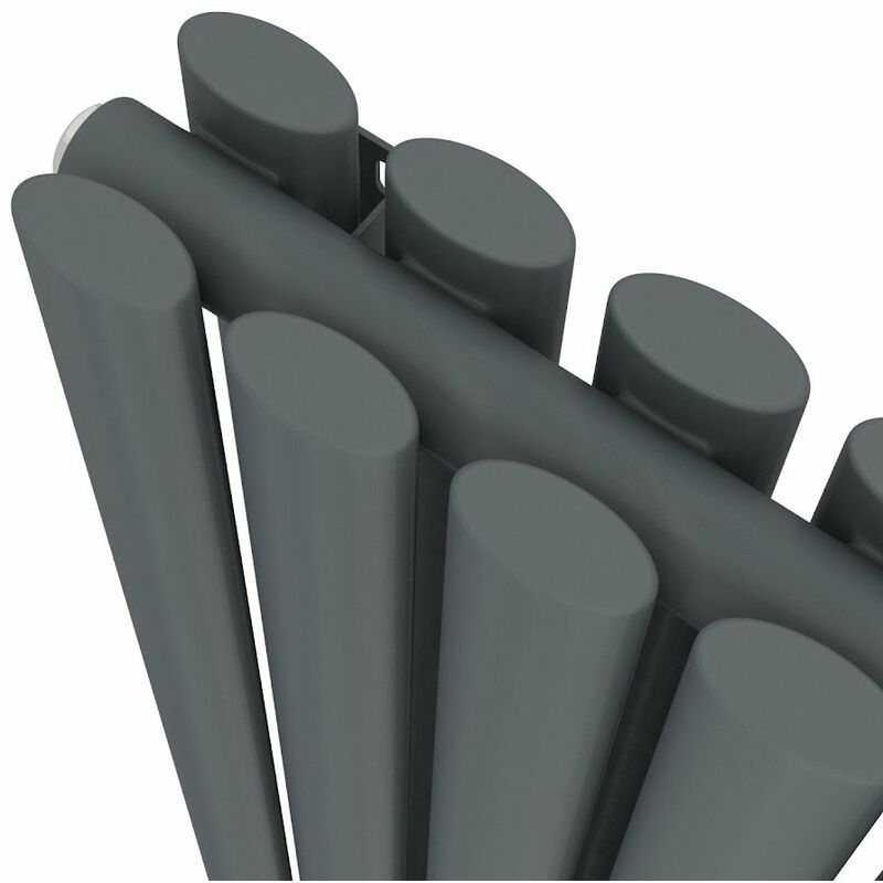 Anthracite Designer Radiator Vertical Oval Column Double Panel Rad 1800x480mm
