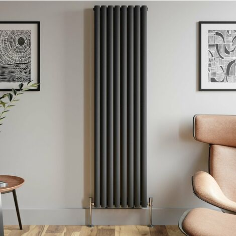 1800x480mm Anthracite Designer Radiator Vertical Oval Column Double Panel Rad