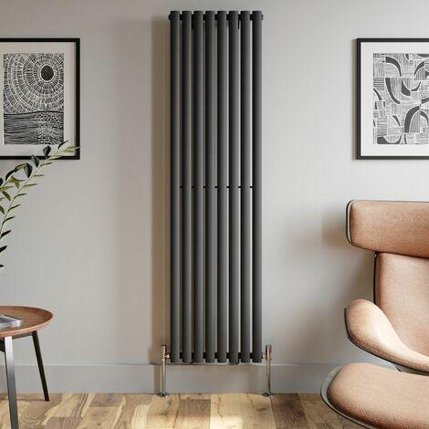 1800x480mm Anthracite Designer Radiator Vertical Oval Column Single Panel Rad