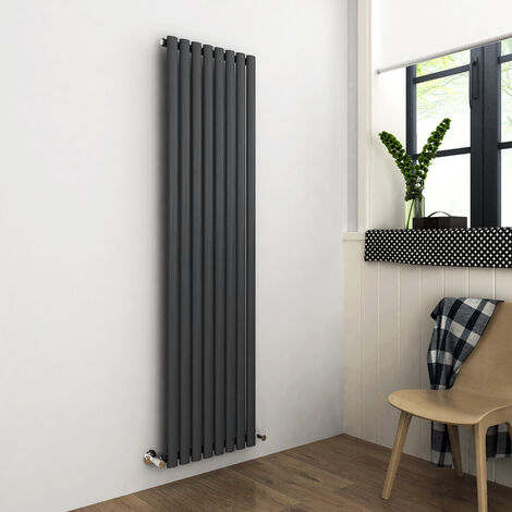 1800x480mm Anthracite Vertical Oval Column Radiator Single Panel Designer Radiators