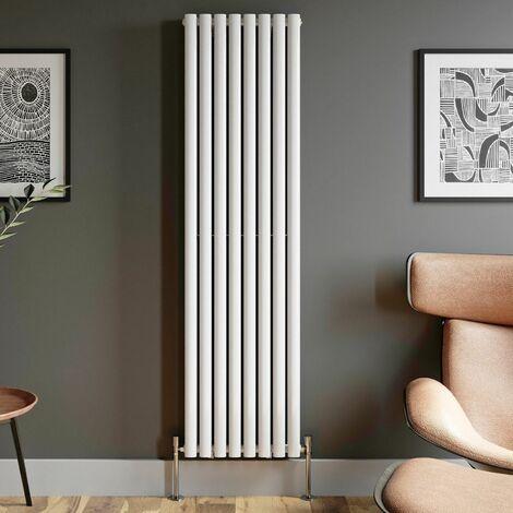 1800x480mm Designer Radiator Vertical White Oval Column Rads Double Panel