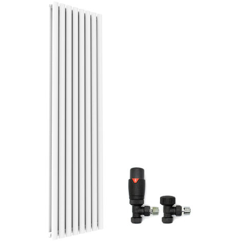 "main image of ""1800x480mm White Vertical Oval Column Radiator Double Panel Designer Radiators + Thermostatic Radiator Valves"""