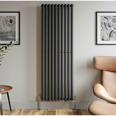 1800x600mm Anthracite Designer Radiator Vertical Oval Column Single Panel Rad