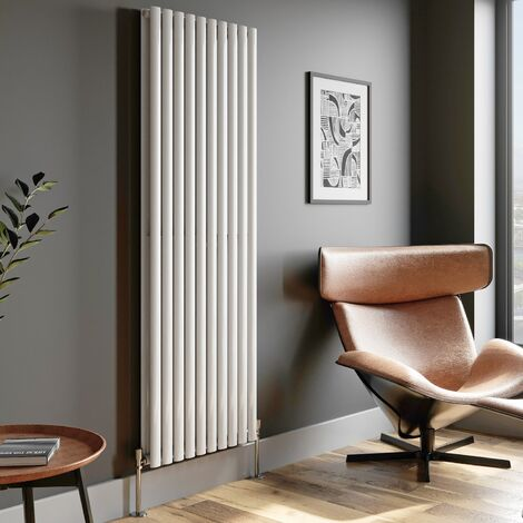 1800x600mm Designer Radiator Vertical White Oval Column Rads Double Panel