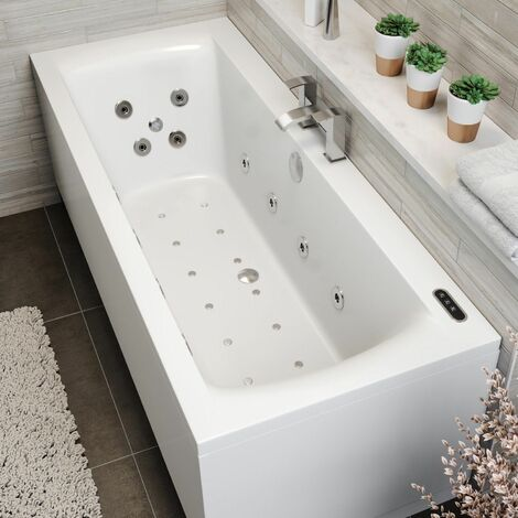 1800x800mm Double Ended Square Whirlpool Bath LED Lighting Ozonator Side Panel