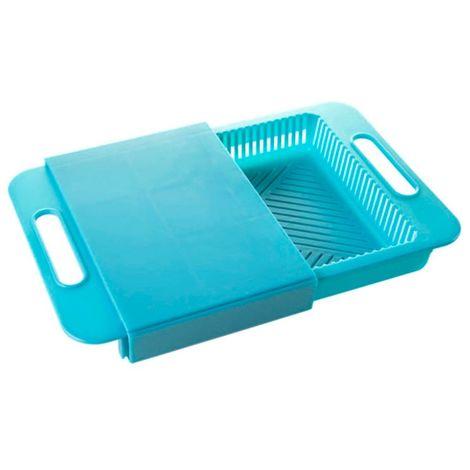 18046 Tabla de corte para fregadero móvil con cesta recogedora integrada | Azul