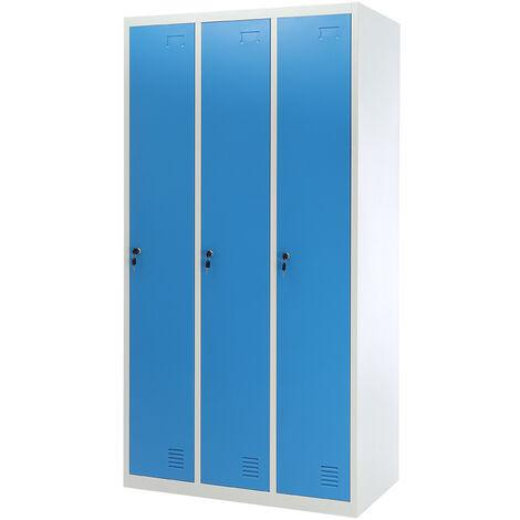 180CM 3 Door Metal Locker Cabinet Changing Room Wardrobe