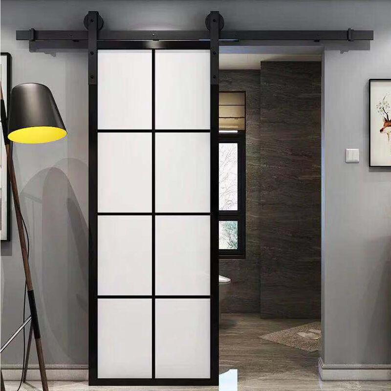 Image of 180cm Black Barn Pulley Door Hardware Kit Sliding Track Steel Slide Track Rail Door Antique Style Sliding Door for Flat Sliding Panel Wood Single