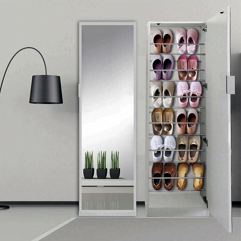 180CM Schuhschrank + Spiegeltür Weiß Schuhregal Schuhkommode Garderobenschrank - MUCOLA