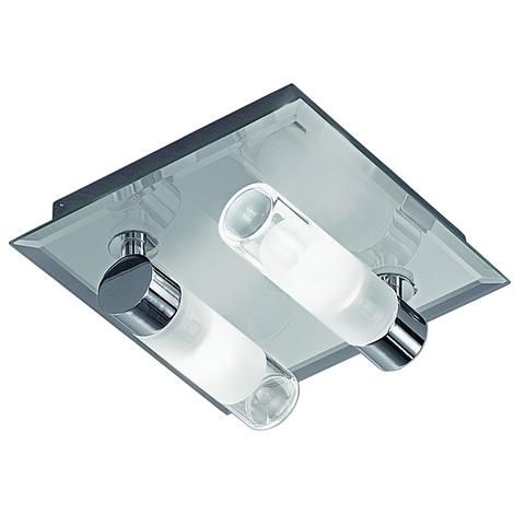 180mm 2 Glass Light Square Flush Fitting IP44 by Washington Lighting