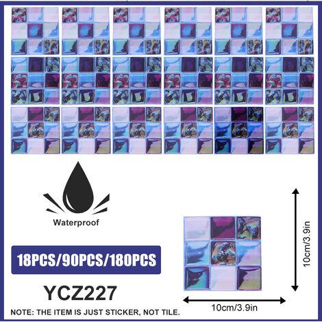 180PCS 10*10CM Autocollants de carrelage salle de bains cuisine mosa?que auto-adhésif décoration murale YCZ227
