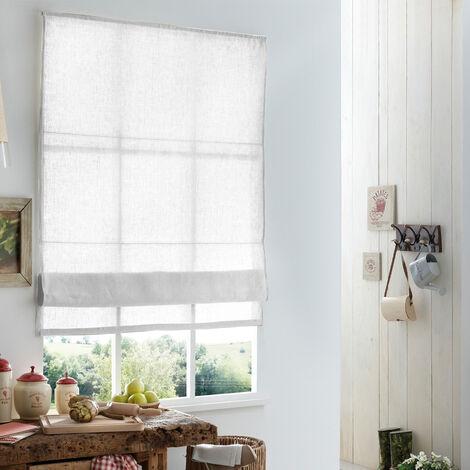 180x 220cm(L x H) - Store Bateau Must Briza 100% Lin - Blanc Blanc