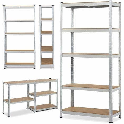 180x 90x 40cm 5 Tier Garage Shelving Units Metal Racking Boltless Storage Shelf Silver