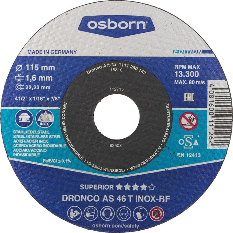 Image of 115X1.6X22.23MM AS46 Inox BF Cut-off Disc - Dronco